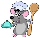 Mouse cook with spoon Stock Images