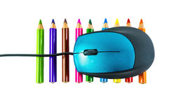 Mouse on crayons Stock Image