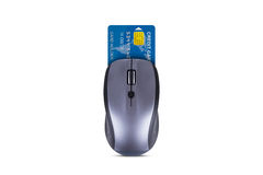 Mouse with Credit Card Royalty Free Stock Images