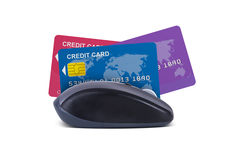 Mouse with Credit Cards Stock Photos