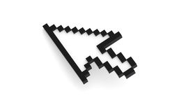 Mouse Cursor. Standard black isolated on white Stock Photos