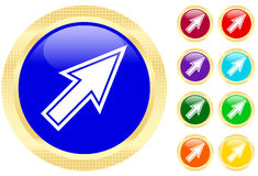 Mouse cursor. Icon on shiny buttons Royalty Free Stock Images