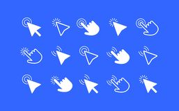 Mouse cursor arrows and hands icon set Royalty Free Stock Photos