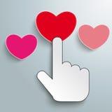 Mouse Cursor Click Hand 3 Hearts Stock Photos