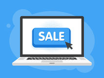 Mouse cursor clicks the sale button. Laptop notebook computer screen. Vector illustration.  Stock Images