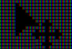 Mouse cursor on computer screen under high magnification demonstrating RGB encoding of white color Royalty Free Stock Photo