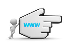 Mouse cursor. 3d people - man, person pointing with big mouse cursor and www sign Stock Photos