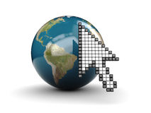 Mouse cursor and earth Royalty Free Stock Photography