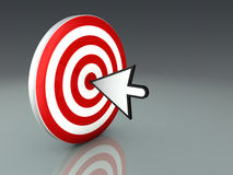 Mouse Cursor Hitting Target Stock Photo