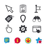 Mouse cursor icon. Hand or Flag pointer symbols. Map location marker sign. Browser window, Report and Service signs. Binoculars, Information and Download icons vector illustration