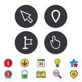 Mouse cursor icon. Hand or Flag pointer symbols. Map location marker sign. Calendar, Information and Download signs. Stars, Award and Book icons. Light bulb Stock Photos
