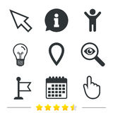Mouse cursor icon. Hand or Flag pointer symbols. Map location marker sign. Information, light bulb and calendar icons. Investigate magnifier. Vector Royalty Free Stock Image
