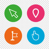Mouse cursor icon. Hand or Flag pointer symbols. Stock Images