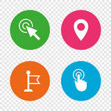Mouse cursor icon. Hand or Flag pointer symbols. Royalty Free Stock Photography