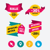 Mouse cursor icon. Hand or Flag pointer symbols. Map location marker sign. Web stickers, banners and labels. Sale discount tags. Special offer signs. Vector Royalty Free Stock Photo