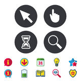 Mouse cursor icon. Hourglass, magnifier glass. Mouse cursor and hand pointer icons. Hourglass and magnifier glass navigation sign symbols. Calendar, Information Stock Images