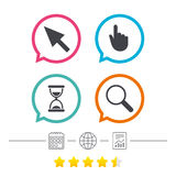 Mouse cursor icon. Hourglass, magnifier glass. Royalty Free Stock Image