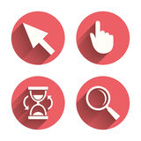 Mouse cursor icon. Hourglass, magnifier glass Stock Photos