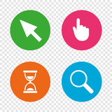 Mouse cursor icon. Hourglass, magnifier glass. Stock Images