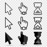 Mouse Cursor Icon Set - Pixel and Smooth Arrows, Hands and Hourglasses Clocks. Isolated on Transparent Background. Vector Illustration Stock Photos