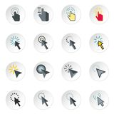 Mouse cursor icons set, flat style. Mouse cursor icons set. Flat illustration of 16 mouse cursor icons for web vector illustration