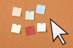Mouse cursor with note papers Stock Images