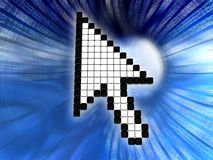 Mouse cursor over data tunnel Royalty Free Stock Images