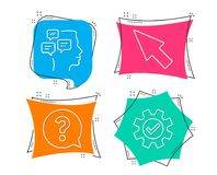 Mouse cursor, Question mark and Messages icons. Service sign. Click arrow, Help support, Notifications. Set of Mouse cursor, Question mark and Messages icons Royalty Free Stock Photos