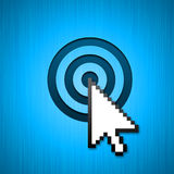 Mouse cursor targeted click. Big mouse cursor clicking in the bulls-eye. Can be used for targeted add background Royalty Free Stock Photos