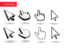 Mouse cursors big set . Pixel , 3d. Simple cursors Stock Photography