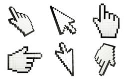Mouse cursors. Set icon of mouse cursors, finger and arrow Royalty Free Stock Image