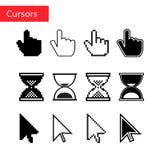 Mouse cursors set. Pixel cursors. Arrow , finger and magnifier cursors Royalty Free Stock Image