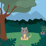 Mouse cute animals cartoons. Mouse at forest cute animal cartoons vector illustration graphic design Royalty Free Stock Images