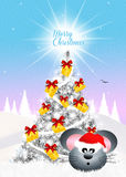 Mouse decorate Christmas tree Royalty Free Stock Photo