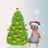 Mouse decorates the Christmas tree with cheese Stock Photography