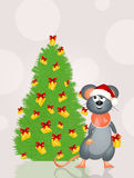 Mouse decorates the Christmas tree with cheese Royalty Free Stock Photography