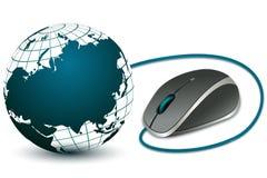 Mouse del calcolatore con il globo illustrazione vettoriale