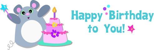 Mouse di buon compleanno Fotografia Stock Libera da Diritti