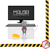 The mouse is disconnected. Cartoon vector stock illustration