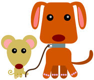 Mouse dog walk Stock Photography