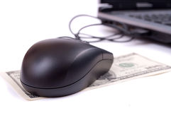 Mouse, Dollars and laptop Royalty Free Stock Photography