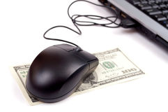 Mouse, Dollars and laptop Stock Image