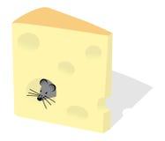Mouse e fetta di formaggio Fotografia Stock