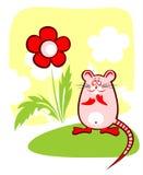 Mouse e fiore Immagini Stock
