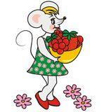 Mouse e frutta Immagine Stock