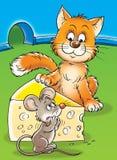 Mouse e gatto Fotografia Stock Libera da Diritti