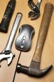 Mouse e strumenti del calcolatore fotografia stock