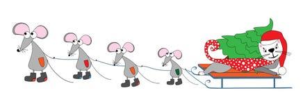 Mouse e un gatto Immagini Stock