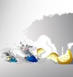 Mouse e un gatto Fotografia Stock Libera da Diritti
