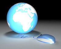 Mouse Earth Connected. 3d background of a mouse connected to a globe Stock Photos